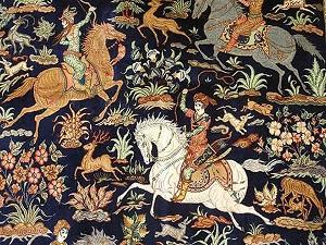 انواع طرح های فرش ایرانی شکارگاه